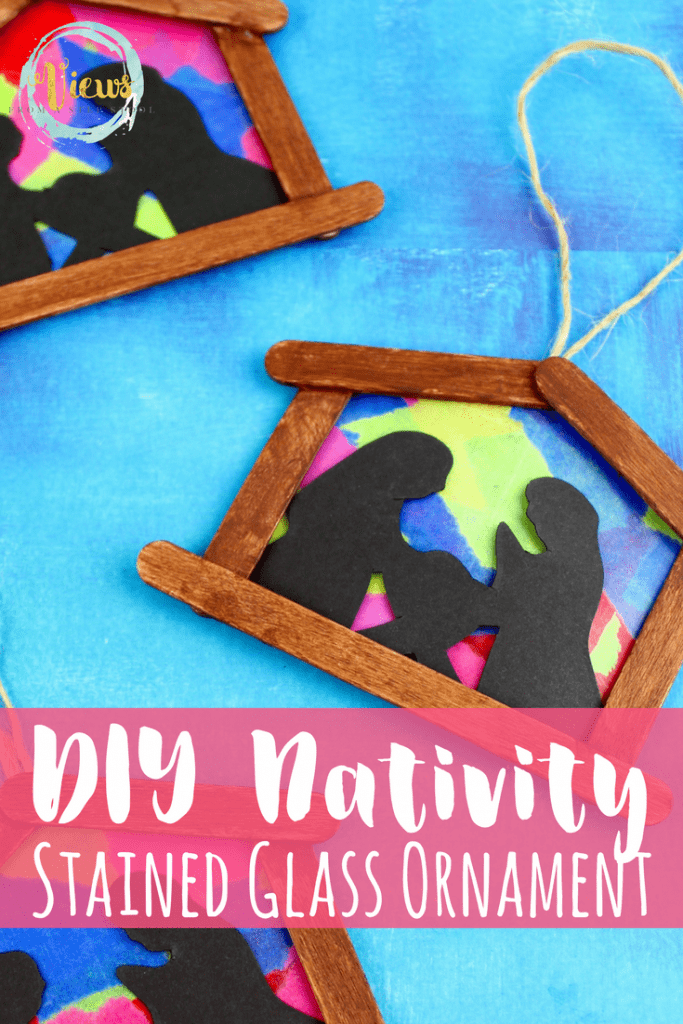 DIY ornaments make excellent keepsake crafts or gifts! This stained glass nativity ornament is awesome for big kids to complete independently, or great for toddlers as their make the mosaic themselves on a sticky table.