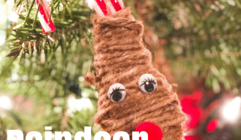 DIY Candy Cane Reindeer Christmas Ornament