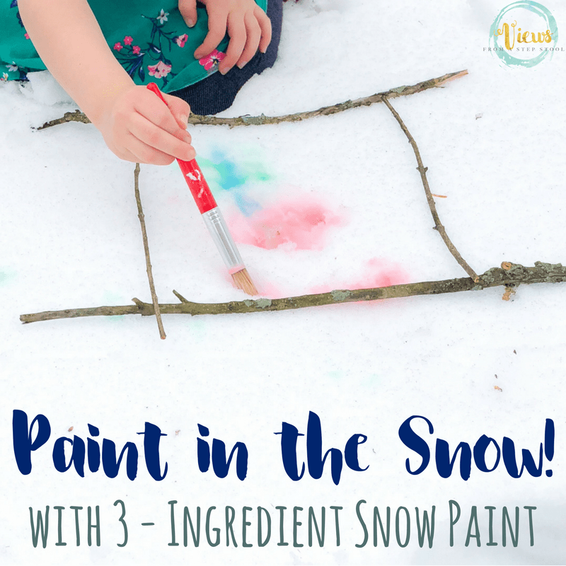 3 Ingredient snow paint that mixes cornstarch and water to create vibrant colors that can be used for painting in the snow!