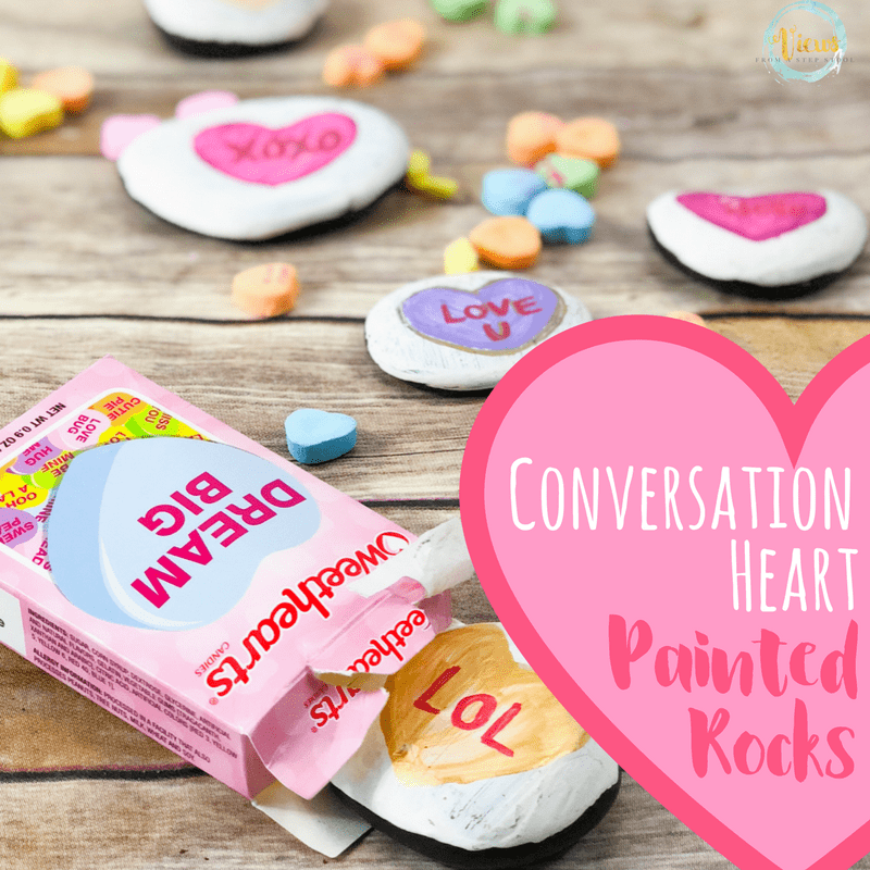 conversation heart painted rocks square