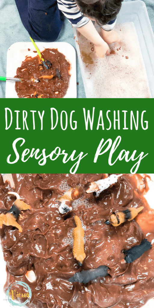 Chocolate pudding for edible sensory play with this dirty dog bin! Perfect for sensory play for 1 year olds and 2 year olds. #sensoryplay #kidsactivites #dogsandkids