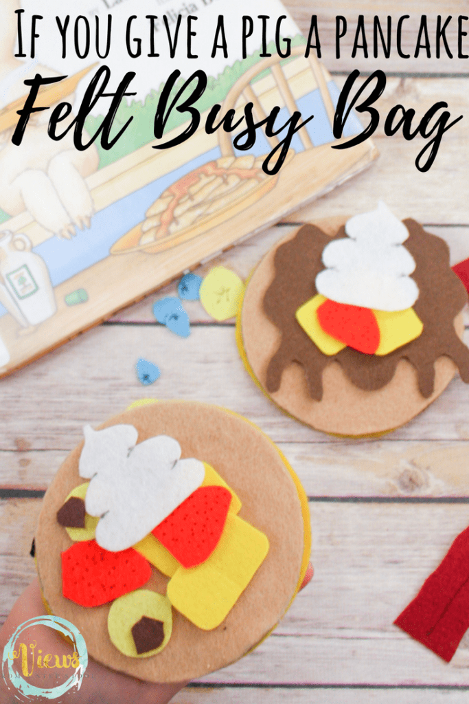 This felt pancake busy bag is perfect for your children and fine motor skills. Great to play with as an extension activity to, 'If You Give a Pig a Pancake'