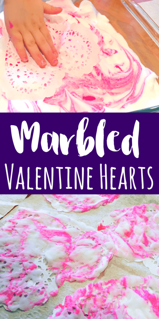 These marbled Valentine hearts are such a fun process art project for kids! Using shaving cream, paint and paper doilies, these are simple for all ages.
