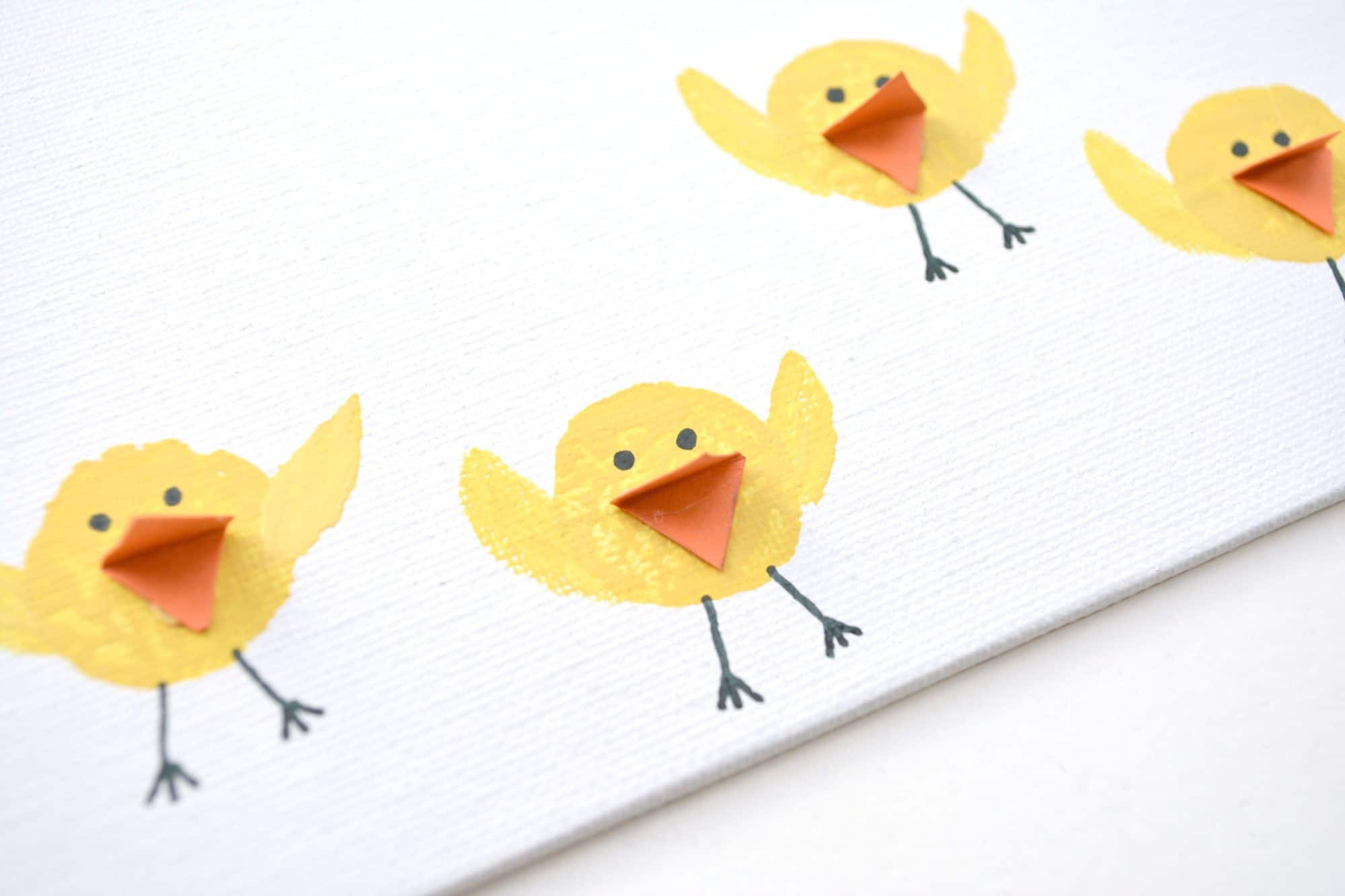 Baby Chicks Wine Cork Stamped Easter Painting for Kids