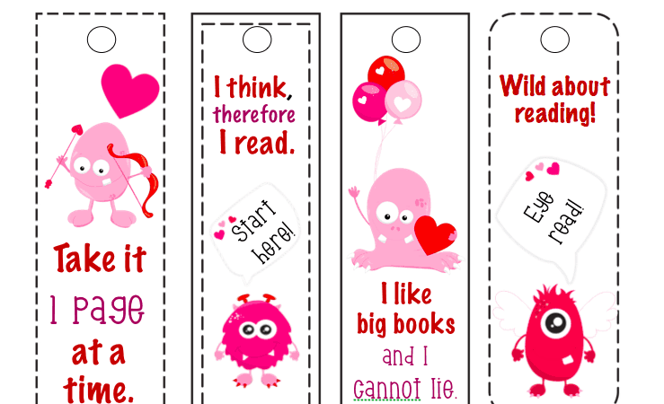 Free Printable Bookmarks: Funny Monster Valentine's Day Bookmarks