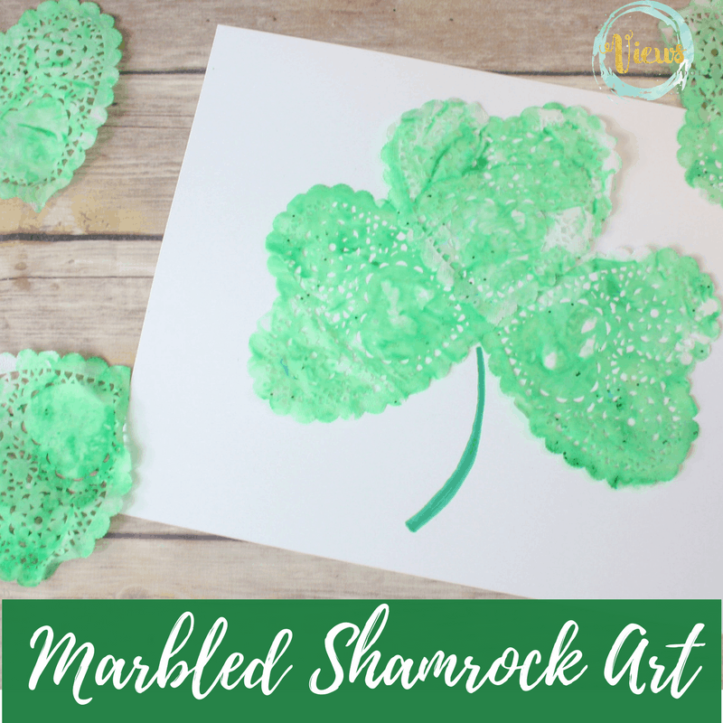 This marbled Shamrock art is such a fun process art project for kids! Using shaving cream, paint and paper doilies, these are simple for all ages.