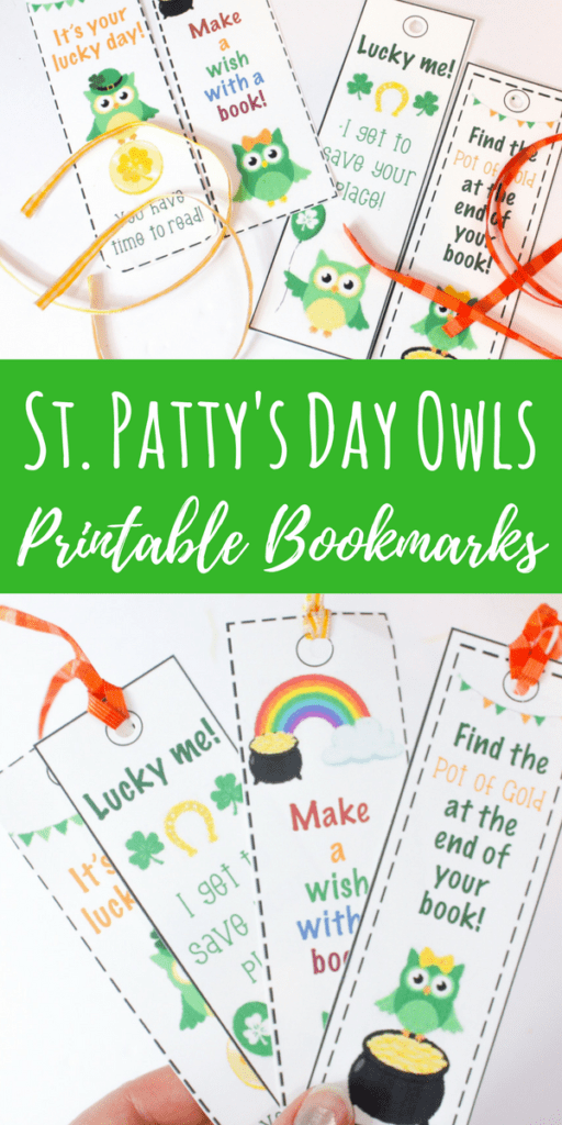 These St. Patrick's Day owl printable bookmarks are perfect to use during the St. Patrick's Day season! They are funny and cute, perfect for young readers.