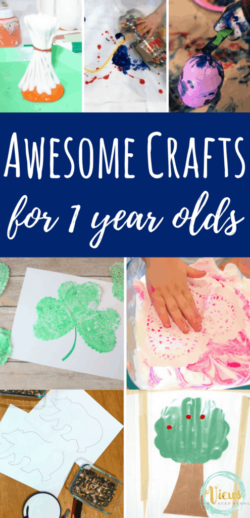 This collection of crafts for 1 year olds include sock animals, painting with recycled materials, DIY toys and more! Perfect for home or in the classroom.
