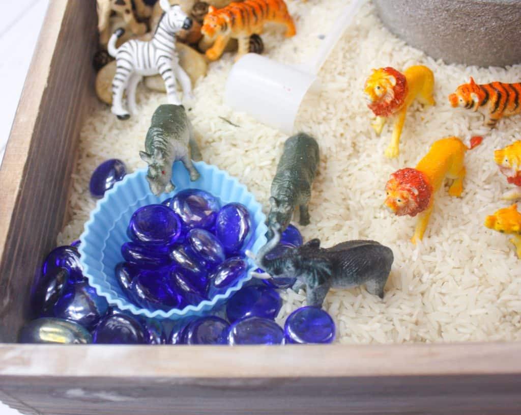 Safari Animal Sensory Bin With Rice Views From A Step Stool
