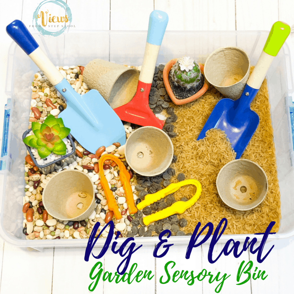A garden sensory bin containing brown rice and dried beans. Perfect for talking about the importance of gardening and the plant life cycle.
