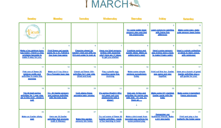 March Kids Activities Clickable Calendar – FREE!