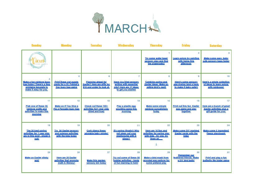 March kids activities in a clickable calendar. Download and save for free and keep your kids busy and learning all month long.