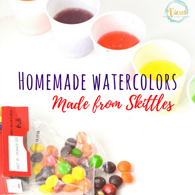 These DIY watercolors are made from Skittles candy! Such a great way to use up any leftover candy you have in your house. Science plus art for kids!