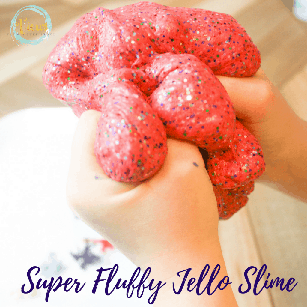 This fluffy jello slime recipe uses a base of contact solution, white glue and baking soda, and adds a fluffy component, jello!