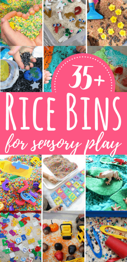 These rice bins are excellent for sensory play with kids. From scented rice and colored rice to seasonal sensory bins, these are great for play & learning.