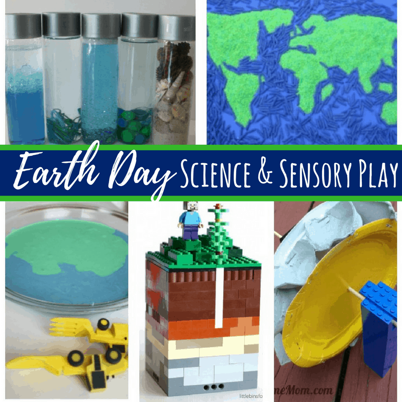 Tons of Earth Day science and sensory activities for kids. Including sensory bins, soil and recycling experiments, and sensory bottles.