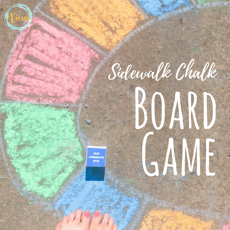 This outdoor sidewalk chalk board game is the perfect outside activity for families. Simple to make and tons of family fun to play with. #outdoorfun #sidewalkchalk #kidsactivities #summerfun #parenting