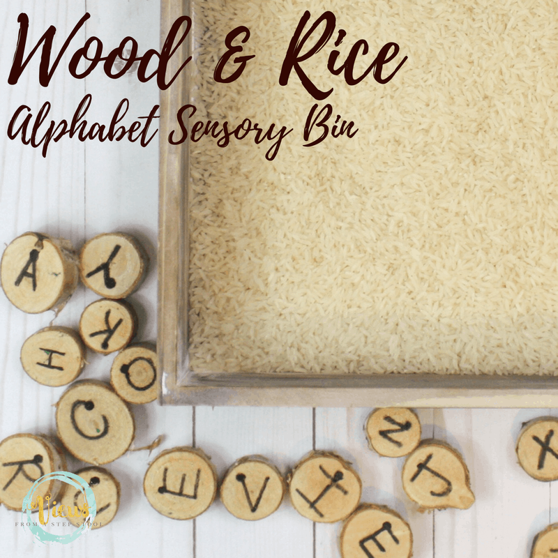 Plain rice and wooden rounds give this alphabet sensory a natural and minimalist feel. Modifications for play and learning with multiple ages.