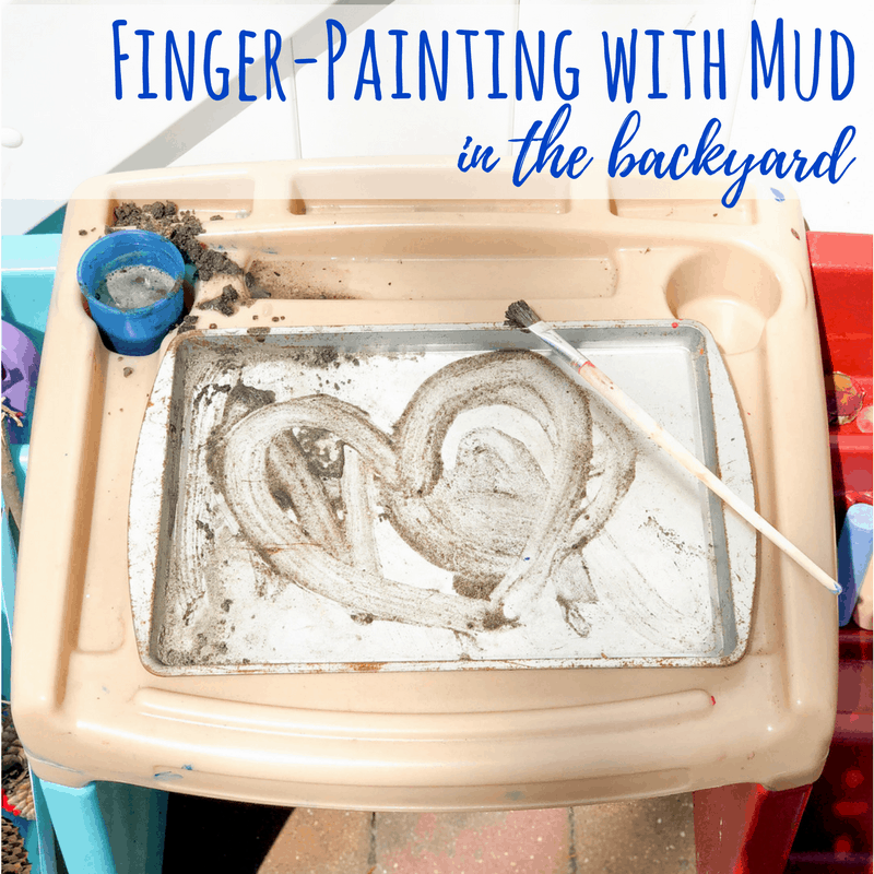 Turn mud into finger paint with this activity that works on pre-writing and fine motor skills. #backyardart #outdoorart #backyardfun #parenting #homeschooling #kidsart