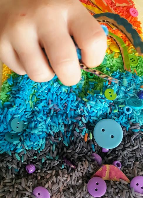 Simple Rainbow Rice Sensory Bin For Kids Views From A