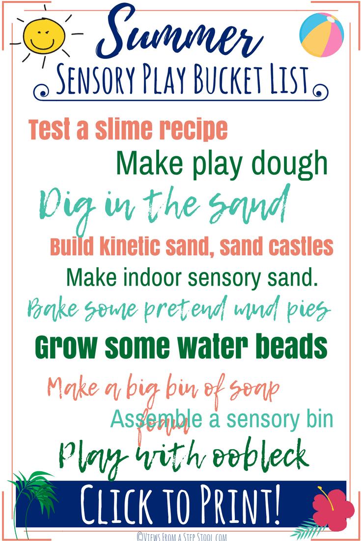Summer sensory bucket list pin
