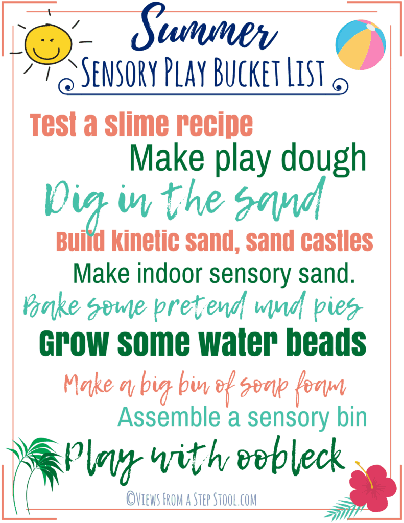 This is a summer bucket list of 10 ways to engage in sensory play this summer. Have you wanted to test out a slime recipe? Heard of oobleck? Give it a go! #summerbucketlist #sensoryplay #kidsactivities #summerideas #homemadesensoryplay