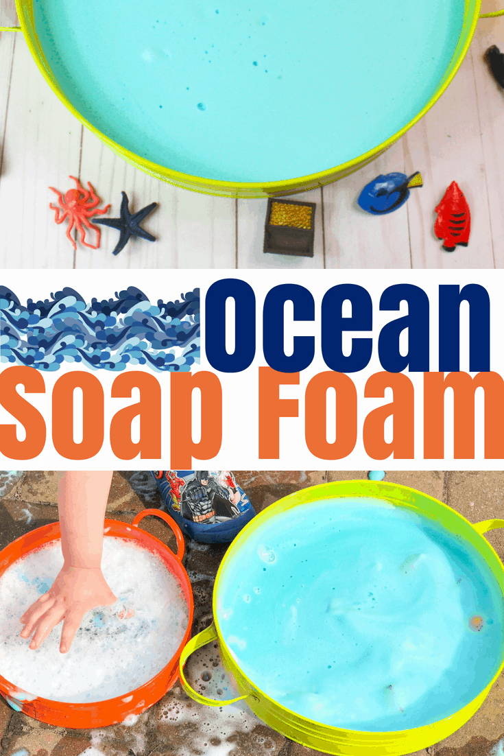 This soap foam recipe mixes soap and water with cornstarch to create foam that has a great texture. Color it blue and add sea animals for an ocean theme! #sensoryplay #sensorybin #oceanactivities #kidsactivities #preschoolactivities
