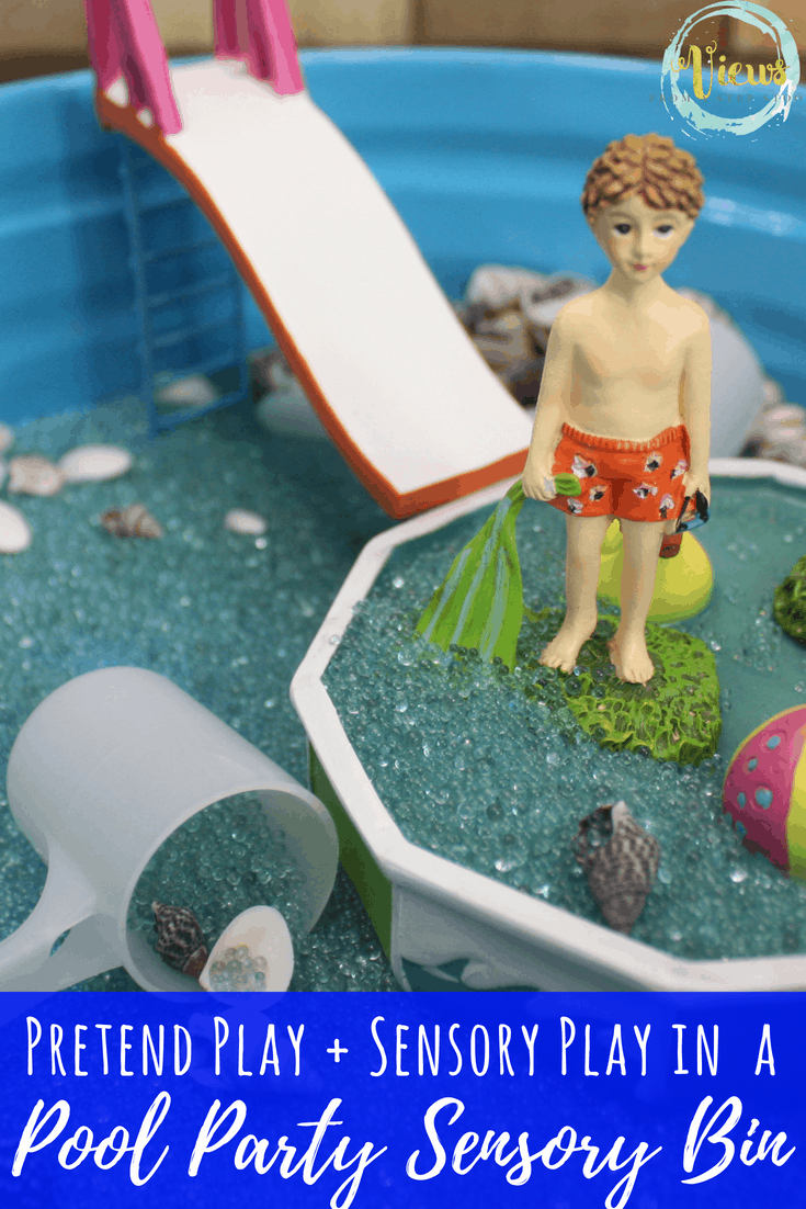 A pool party sensory bin and small world for fine motor practice and fun. Perfect as a summer boredom buster! #sensoryplay #sensorybin #summerkidsactivities #kidsactivities #finemotorplay
