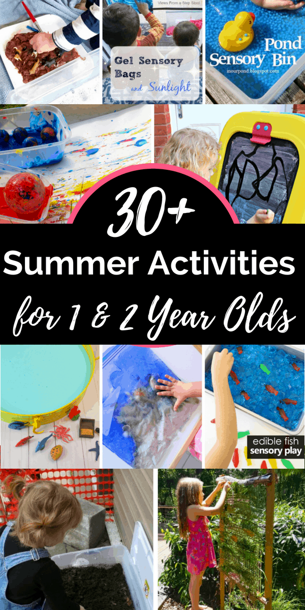 These summer activities for 1 year olds and toddlers include sensory play ideas, outdoor motor fun, and arts and crafts to keep little ones busy all summer. #summeractivities #kidsactivities #summer #1yearolds #toddleractivities
