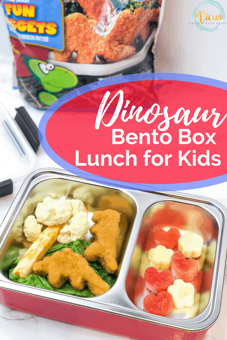 This dinosaur lunch uses dinosaur shaped chicken nuggets and fun fruit and veggies to create a dinosaur themed bento box lunch for school! Also included are free dinosaur lunchbox notes to print. #backtoschool #lunchforkids #bentobox #kidslunch #dinosaur #parenting