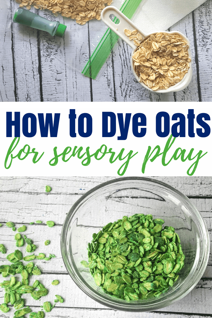This super easy step by step tutorial shows you how to quickly, and easily, dye oats for sensory play. Perfect as a sensory bin base for babies. #sensoryplay #kidsactivities #dyedmaterials #howto #sensorybin