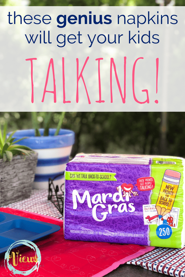 Kids need help talking at dinnertime? These Mardi Gras Napkins are a game changer. With fun questions and illustrations, dinner just got a lot better! #parenting #kidsactivities #talkingkids #family #bonding #qualitytime #dinnertimehacks