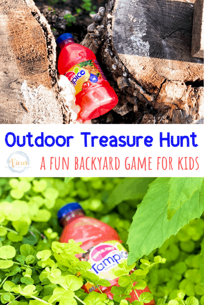 tampico juice bottles hidden outside with text overlay outdoor treasure hunt a fun backyard game for kids