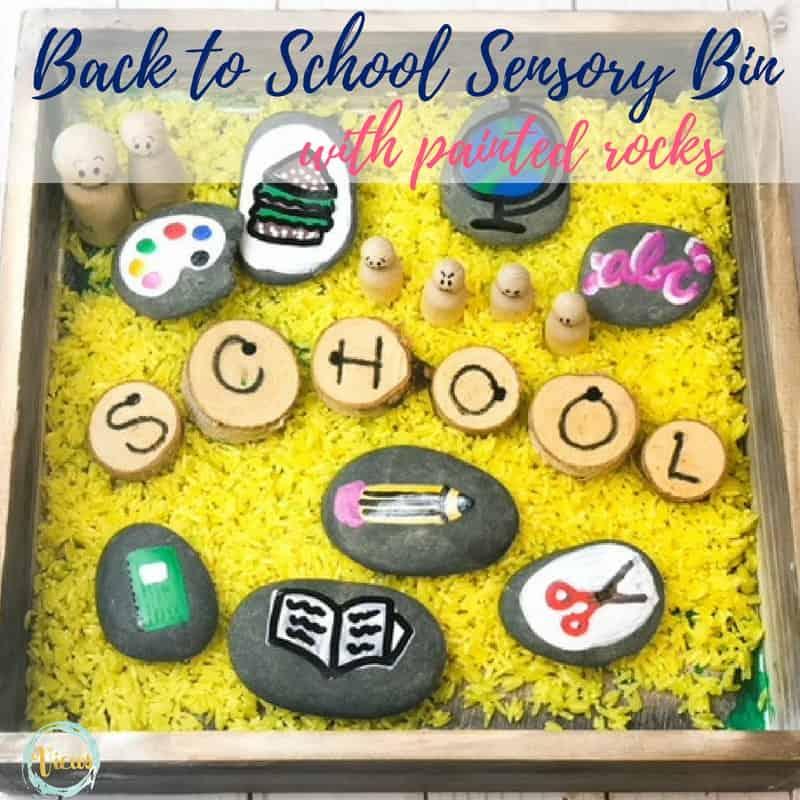 school themed sensory bin