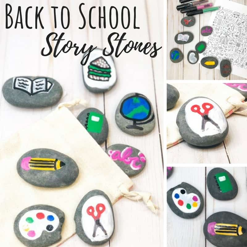 school themed story stones painted rocks