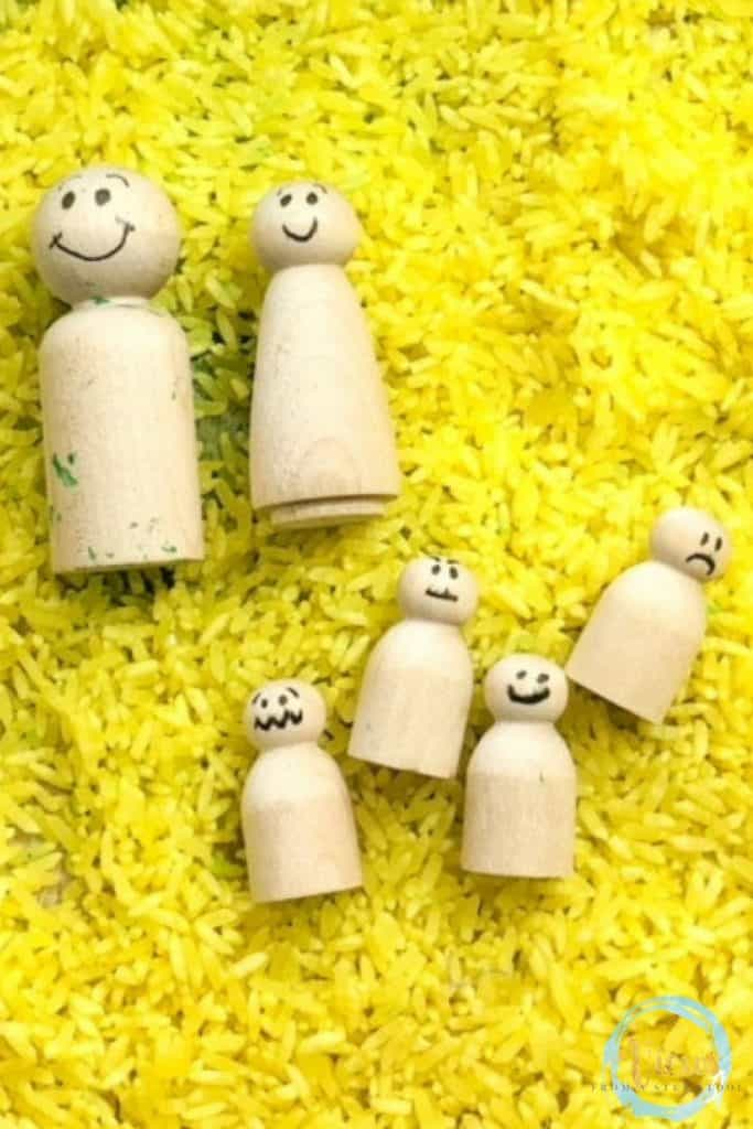 wooden emotion dolls and yellow rice