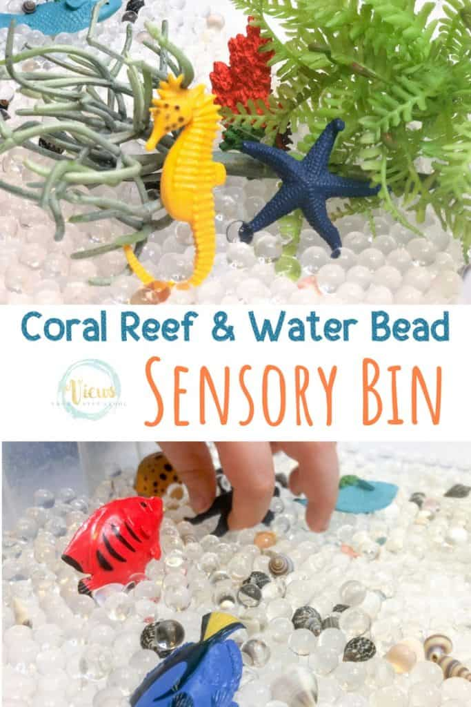 sensory bin with water beads, seahorse and fish and text overlay 'coral reef sensory bin'