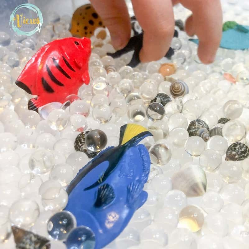 sensory bin with water beads and fish