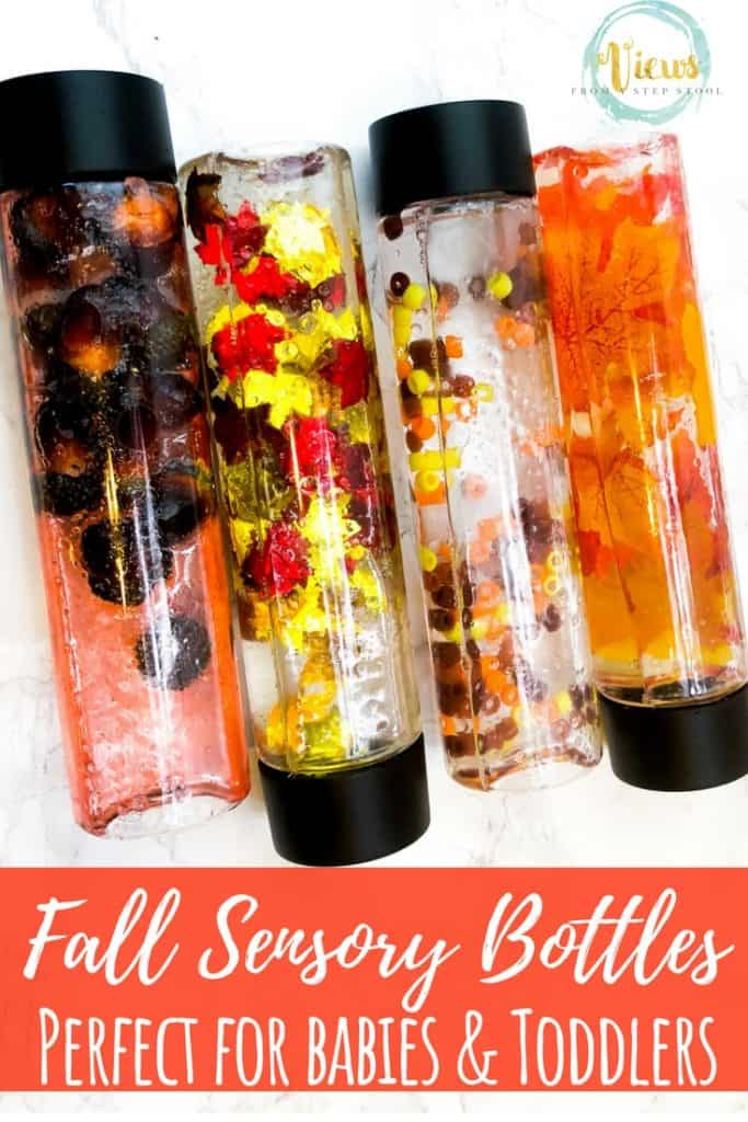 fall sensory bottles containing water and fall objects