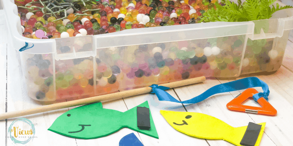 foam fish with magnets and wooden dowel