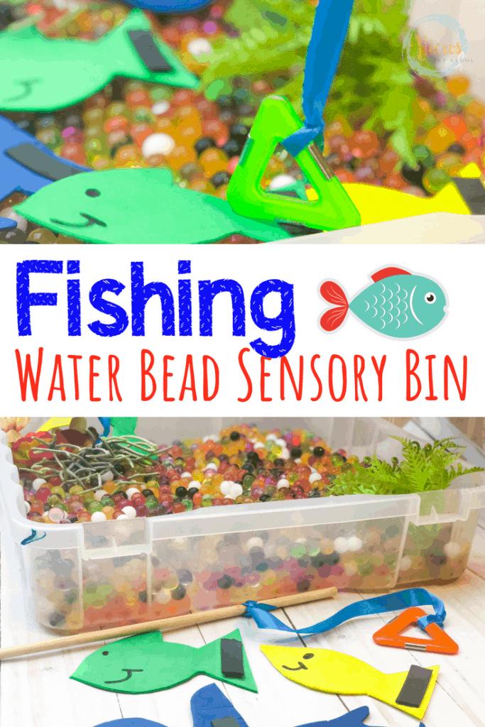 water beads craft foam fish text overlay fishing sensory bin