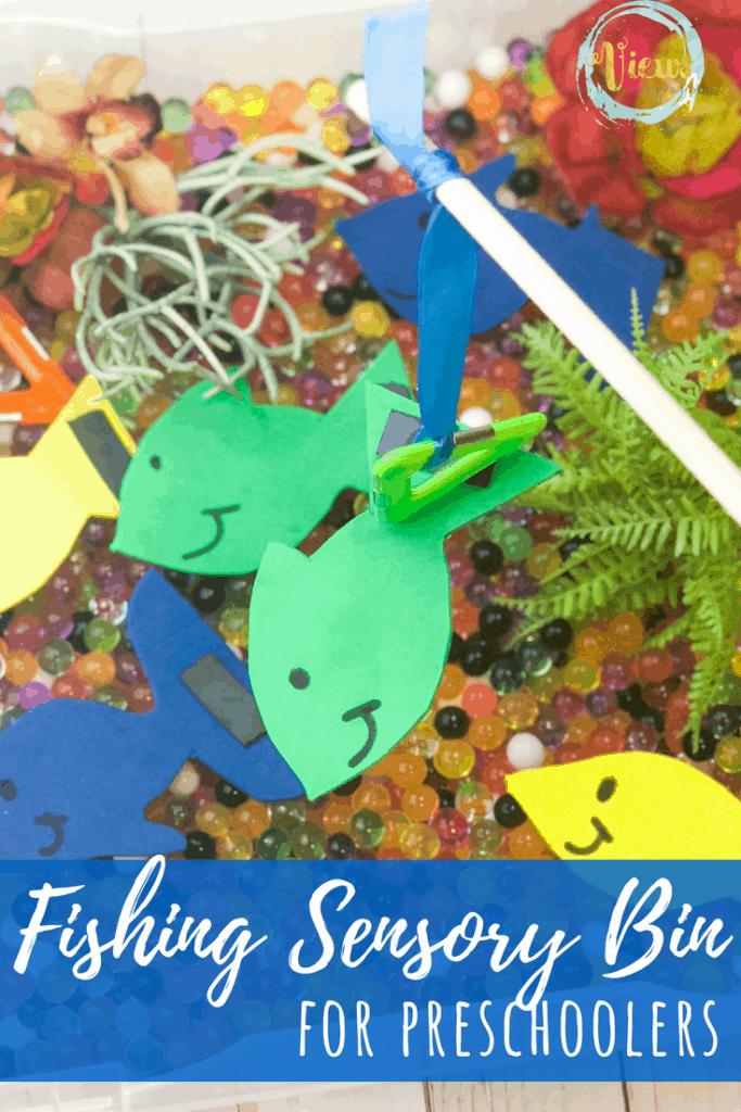 water beads and foam fish text overlay fishing sensory bin