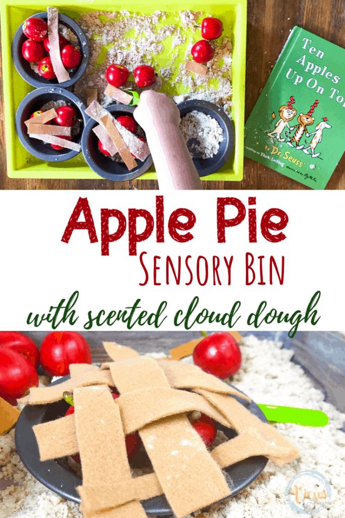 apple pie sensory bin with mini pie tins and cloud dough