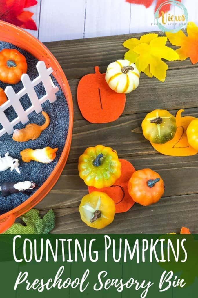 pumpkin sensory bin with farm animals and felt pumpkins