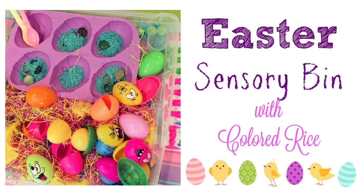 Easter Sensory Bin with Colored Rice