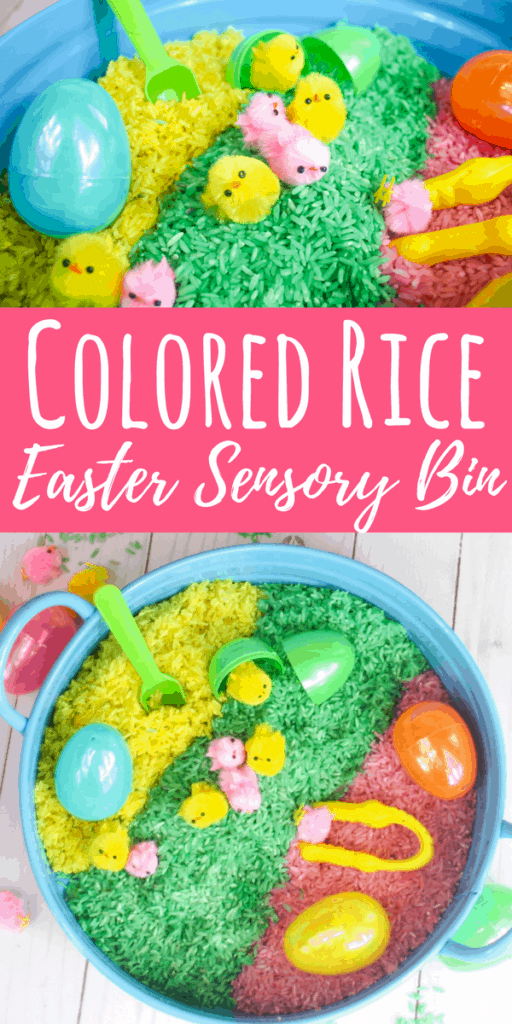 This Easter sensory bin is made with colored rice, plastic eggs, little chicks and fine motor tools. Bright and colorful, this rice bin is fun for all ages.