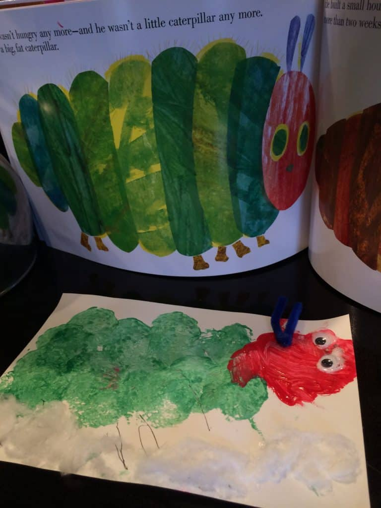 An invitation to create a Very Hungry Caterpillar craft for kids. Using circular items like cut sponges and citrus halves, kids can create a caterpillar.