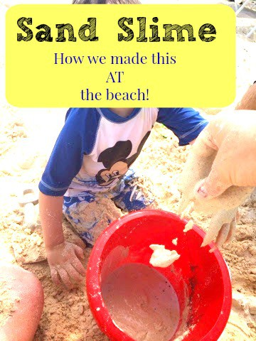 We are bringing these ingredients TO the beach to make sand slime! Sensory play is fun anywhere!