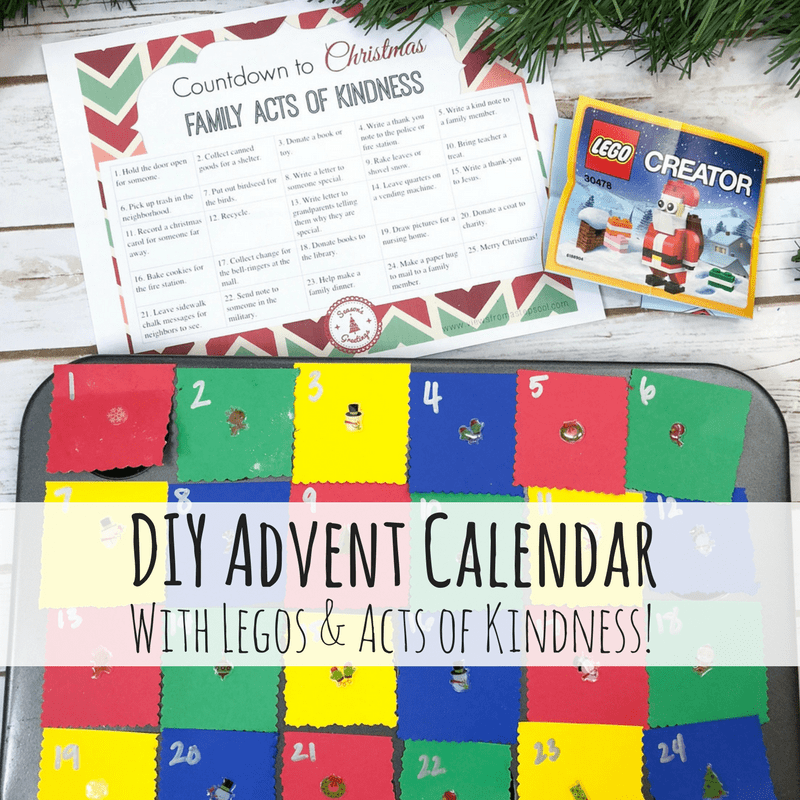 Check out how to turn muffin tins into a DIY Advent Calendar! Grab the free printable Acts of Kindness calendar to do with the family for the month of December. #diyadventcalendar #adventcalendarhomemade #adventactivities #kidsactivities #christmasactivities