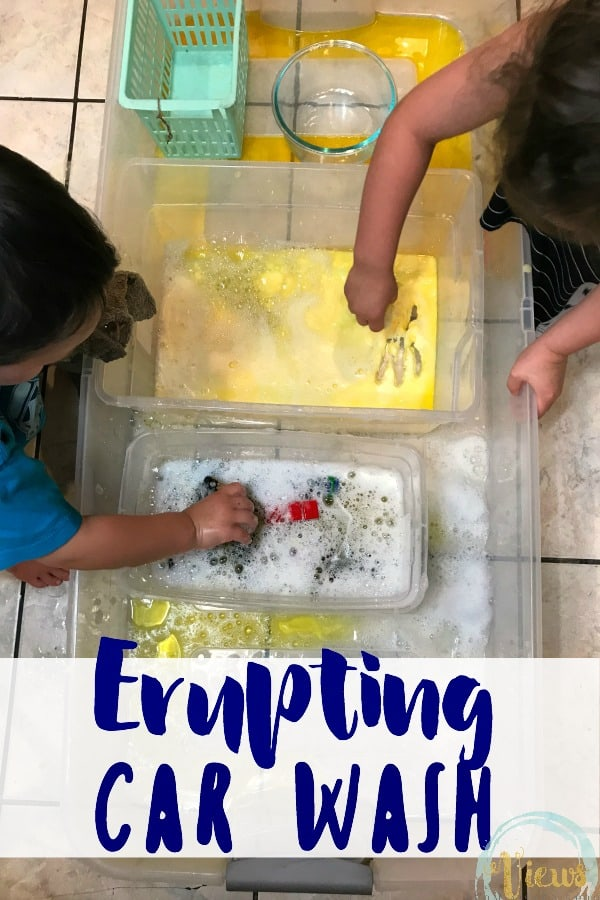 This simple science experiment combines baking soda and vinegar with pretend play, perfect for toddlers! An erupting toy car wash engages all the senses.